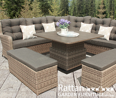 Square brown corner modular rattan sofa set