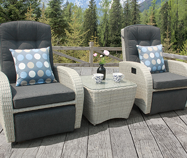 grey rocking and reclining rattan bistro set